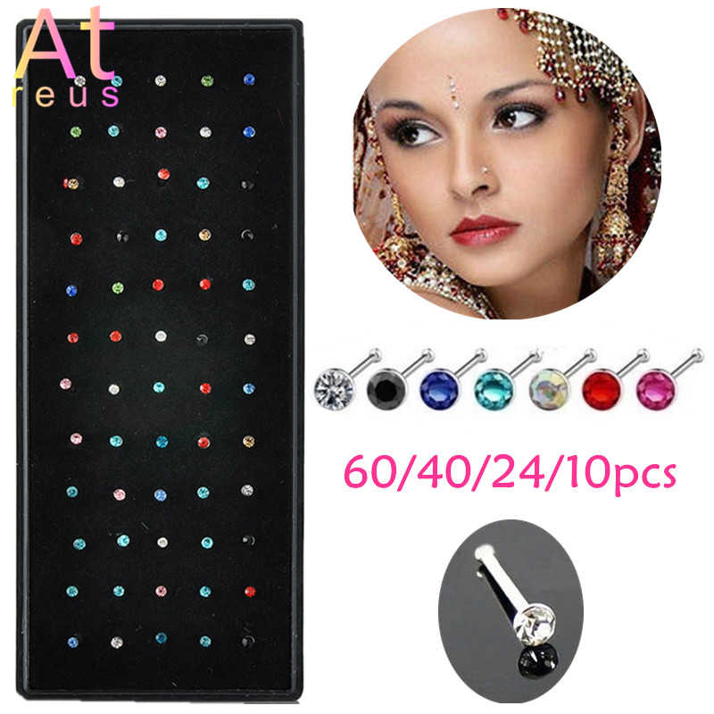 NEW 40pcs Crystal Rhinestone Surgical Steel Nose Ring Body Piercing Studs 1.8mm