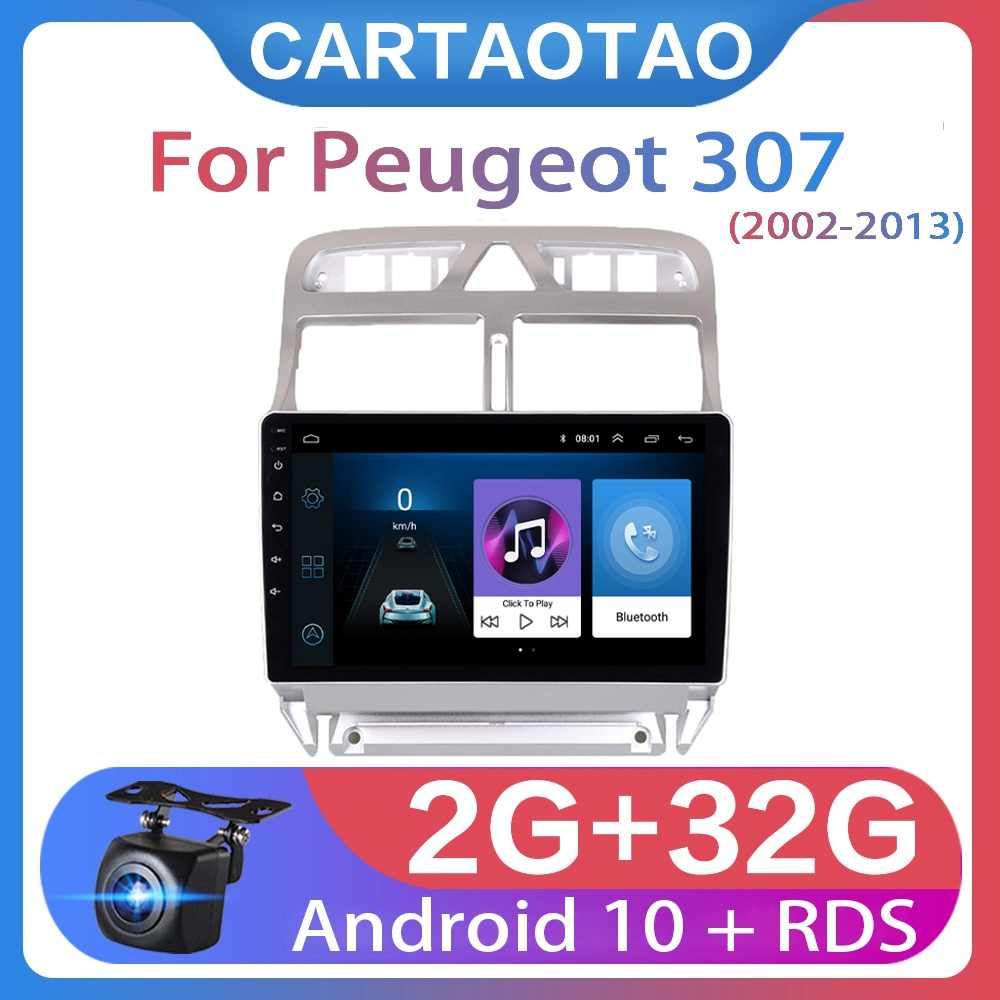 2din Android 10 auto DVD-multimedia-player für Peugeot 307 307CC 307SW 2002-2013 auto radio GPS navigation WiFi bluetooth-player