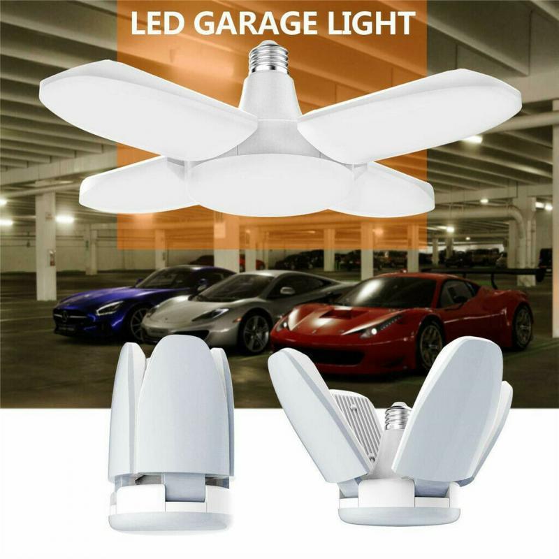 Super Bright Industrial Lighting 48W LED High Bay Light Garage Lamp E27 6500KFour-Leaf Deformation For Home Warehouse Workshop