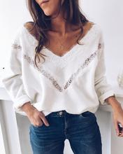 2019 Autumn Women Elegant V-Neck Basic Casual Top Female Fashion White Leisure Sweater Solid Lace Hollow Out Detail Sweater coffee patch detail drop shoulder sweater