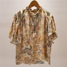 Vintage Floral Women's Blouse 2020 Spring Summer V-neck tass