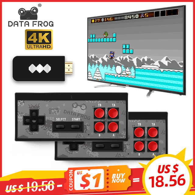 Data Frog USB Wireless Handheld TV Video Game Console Build In 1400 NES classic 8 Bit Game mini Console Dual Gamepad HDMI Output 1