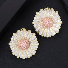 LARRAURI Trendy Luxury Cubic Zircon CZ Indian Bridal Earrings Bohemia Big 3 Tone Daisy Flower Stud Earrings For Women Wedding стоимость