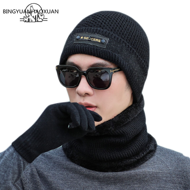 Knitting Winter Hat Gloves Scarf Set Solid Color Men Warm Beanies Men Accessories Winter Outdoor Hats Scarf 3 Pieces