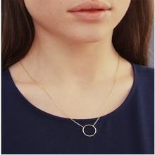 Винтажное изящное круглое ожерелье для женщин, золотая цепочка из нержавеющей стали, Геометрическая карма, круглое ожерелье, ювелирные изделия, вечерние, подарок