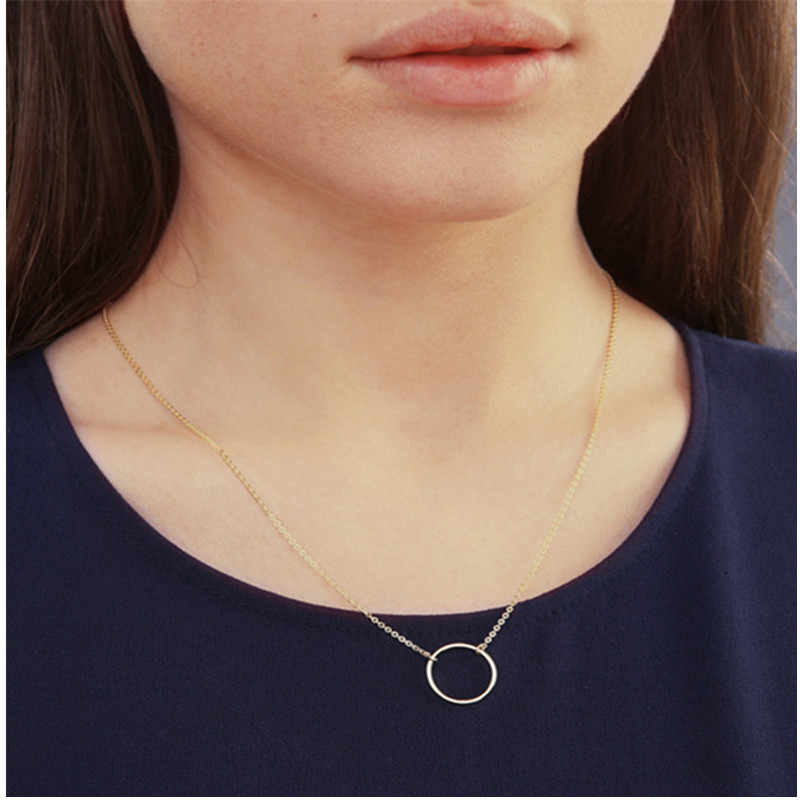 Vintage Minimal Dainty Circle Necklace For Women Stainless Steel Gold Chain Geometric Karma Round Necklace Jewelry Party Gift