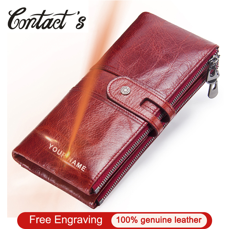 Brand Designer Women Clutch 2020 Fashion Wallets Cowhide Leather Female Long Wallet Women Zipper Purse Coin Purse For iPhone X
