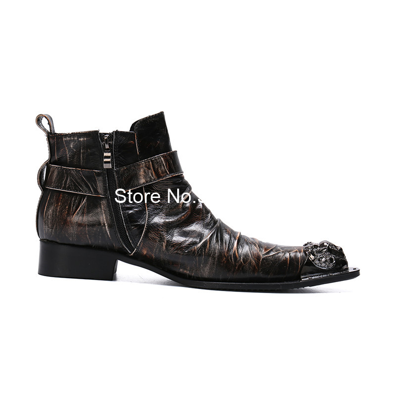 Ankle Boots Mens Patent Leather Lace Up Buckle Strap Casual Sneakers Shoes Size