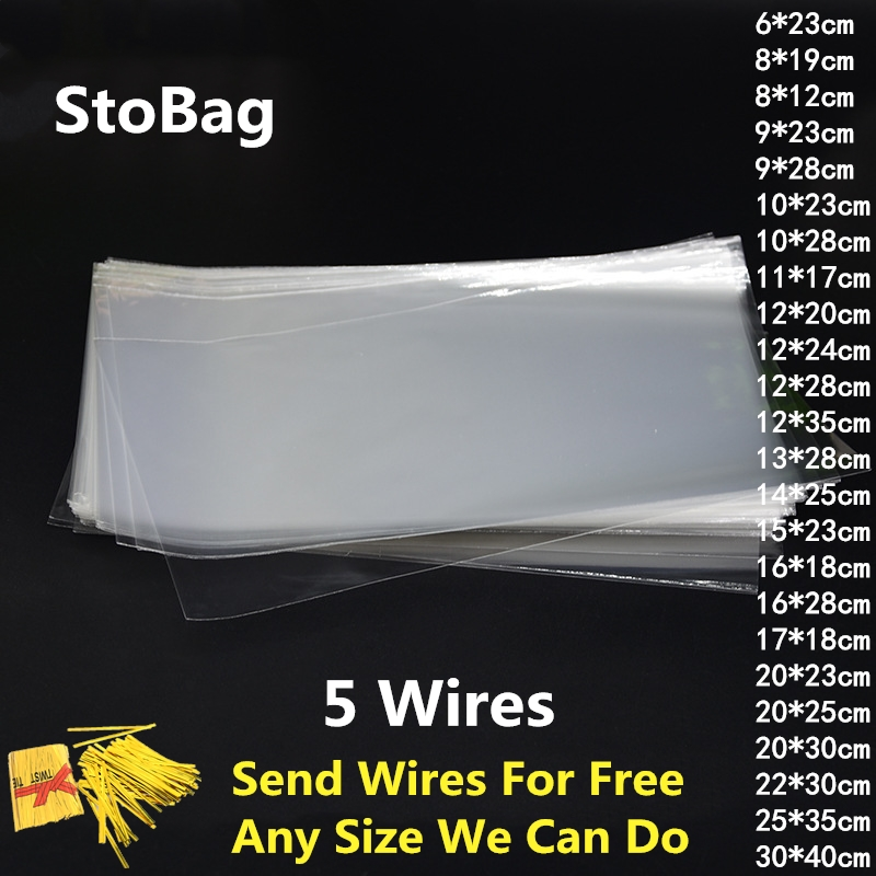 StoBag 100pcs Clear Plastic Bag Flat Open Top For Candy Cookie Bread Food Opp Cake Gift Packaging Bags Wedding Party DIY Cello
