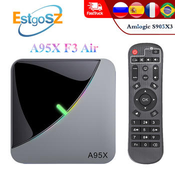 EstgoSZ A95X F3 Air Smart TV Box Android 9.0 Amlogic S905X3 Quad Core Max 4GB 64GB with RGB Light G31 GPU Dual USB Dual WiFi