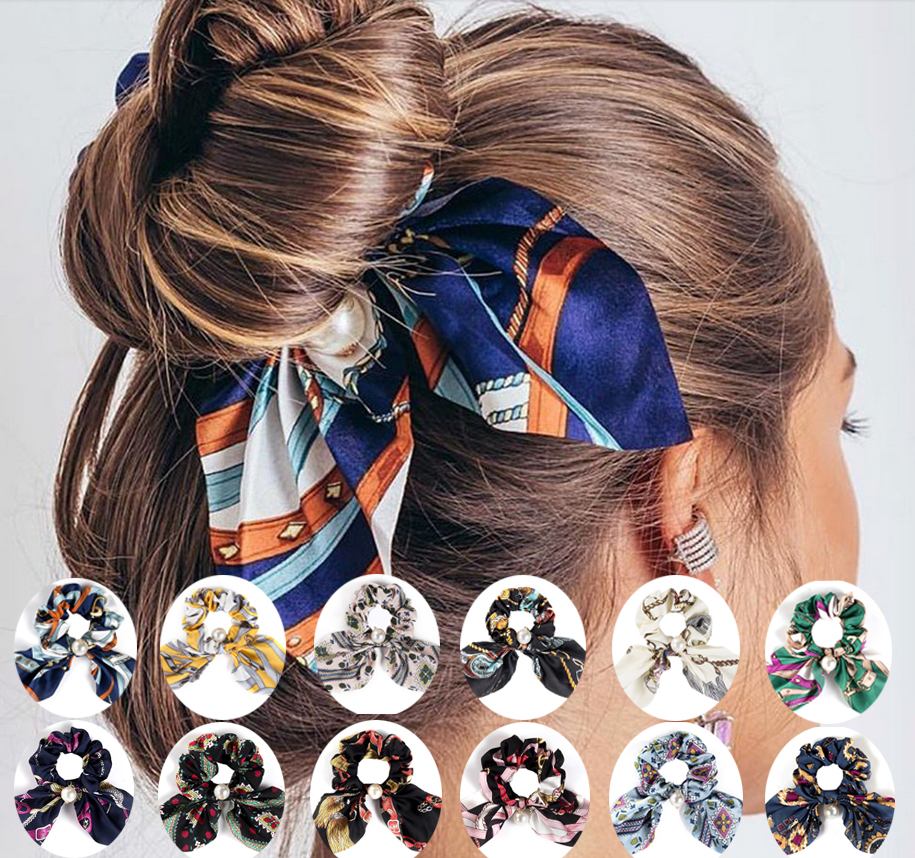 New Girl Print Flower Hair Scarf Scrunchies Elastic Hair Rope For Women Bow Hair Bands Hair Accessories Ties Headbands