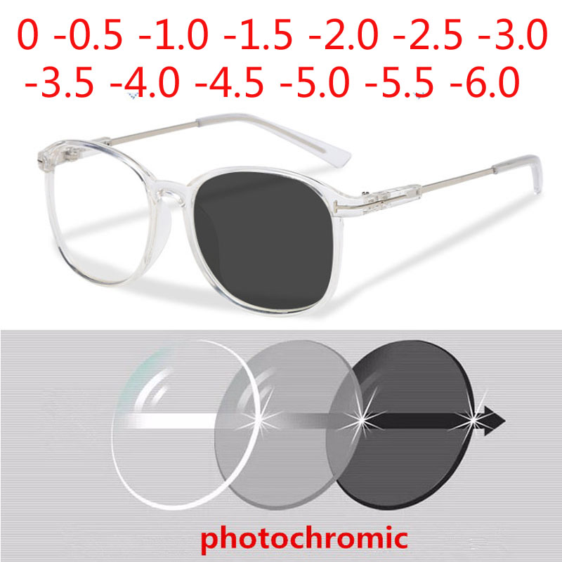 Big Oversized Frame Anti Blue Light Sun Photochromic Myopia Eyeglasses Prescription 0 -0.5 -0.75 -1.0 -1.5 -2.0 -2.5 To -6.0
