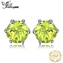 Подлинных природных перидот серьги твердые 925 стерлингового серебра серьги круглый 5x5 мм мода зеленый камень для женщин подарок