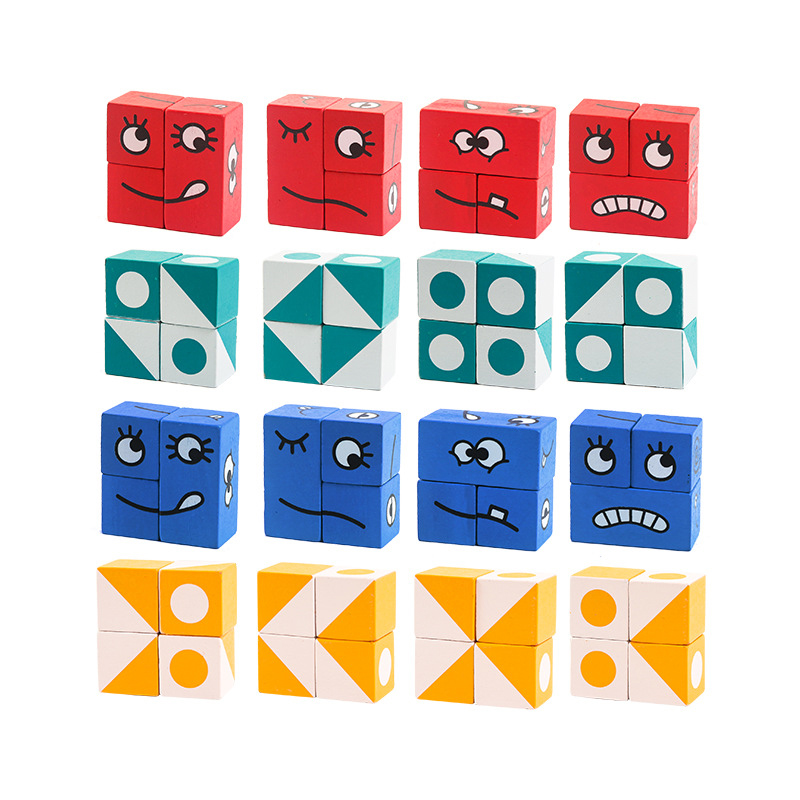 Kids wooden toys expression puzzled magic cube building blocks