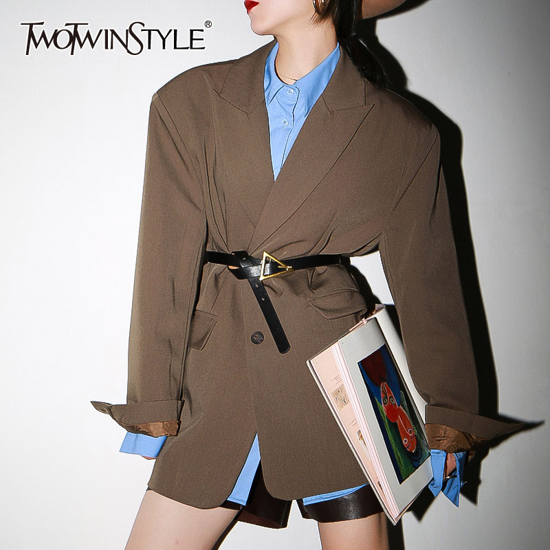 TWOTWINSTYLE Casual Loose Women Blazer Notched Collar Long Sleeve Elegant Suits Female Fashion Clothing 2020 Spring Tide