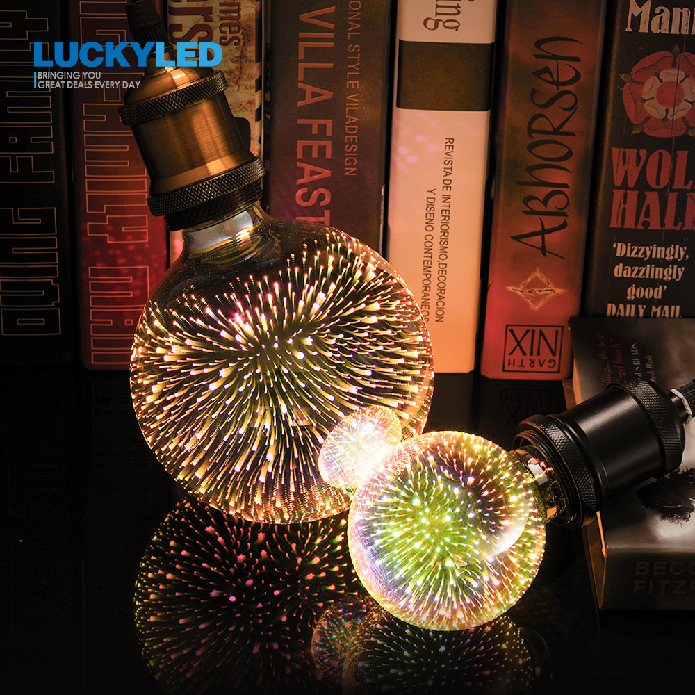 LUCKYLED E27 Led 3D Decoration Light Bulb A60 ST64 G80 G95 G125 Led Lamp AC220V 240V 110V Retro Firework Novelty Holiday Lights