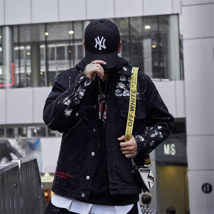 Fashion 2019 New Men Hip Hop Graffiti Cartoon Ripped Denim Jackets Mens Casual Distressed Jeans Jacket Coat Streetwear - 4