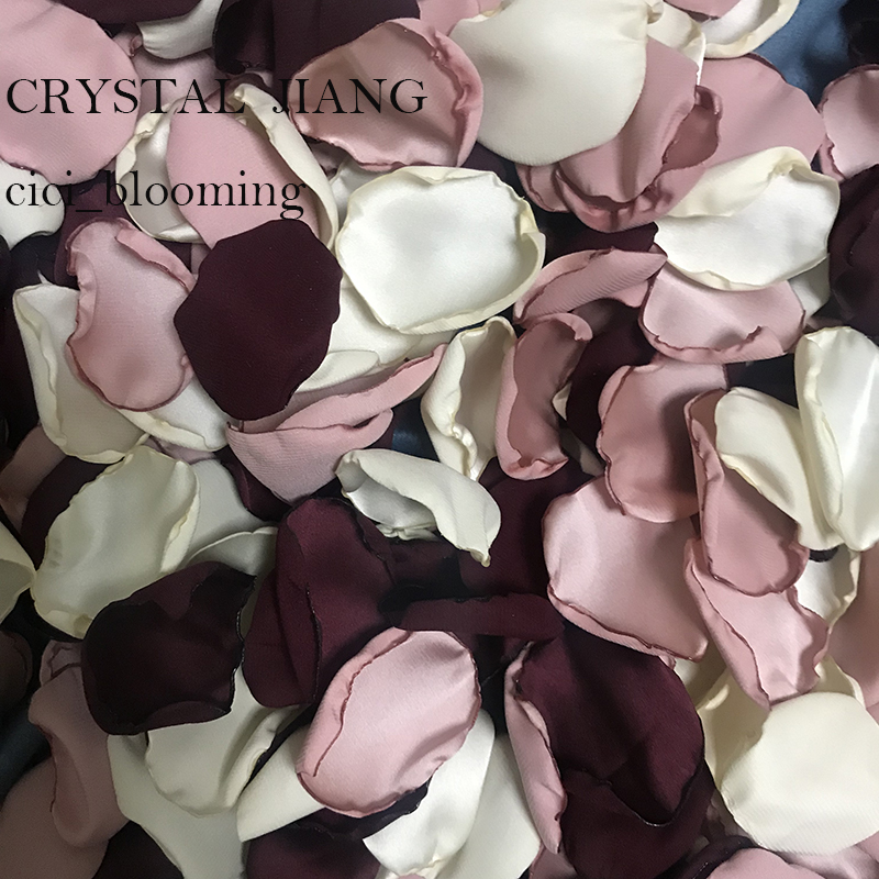 Dark Burgundy Light Old Rose And Light Yellow Petals For Weddings Soft Silk Satin Flower Girl Rose Petal 100 Pieces /Lot
