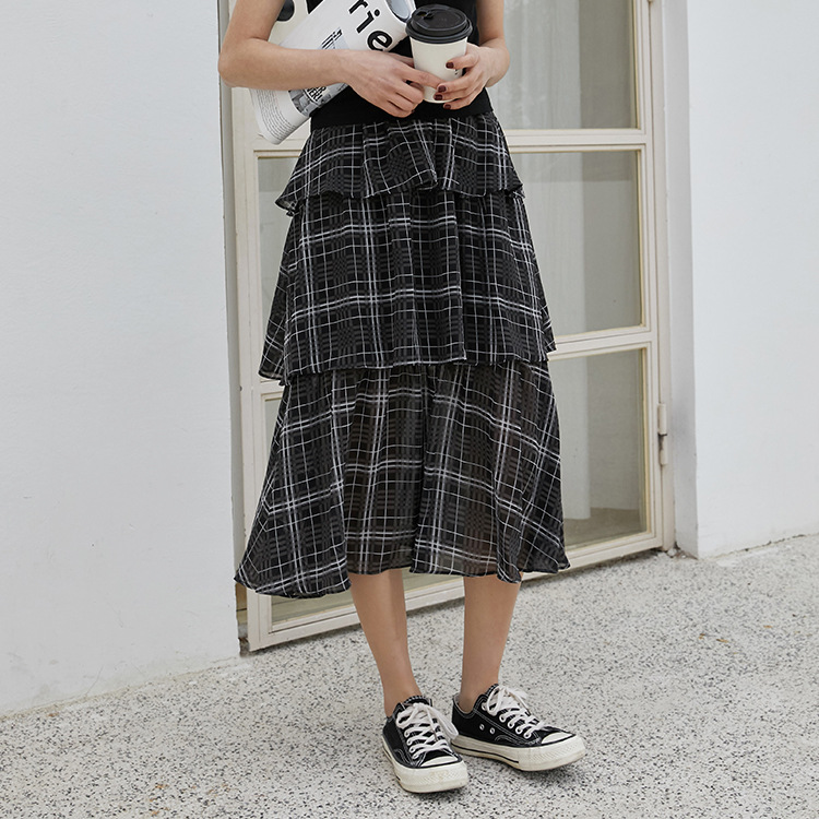 2019 Autumn New Style Korean-style Mid-length Cake Dress Versatile Black High-waisted Slimming Plaid Skirt Student