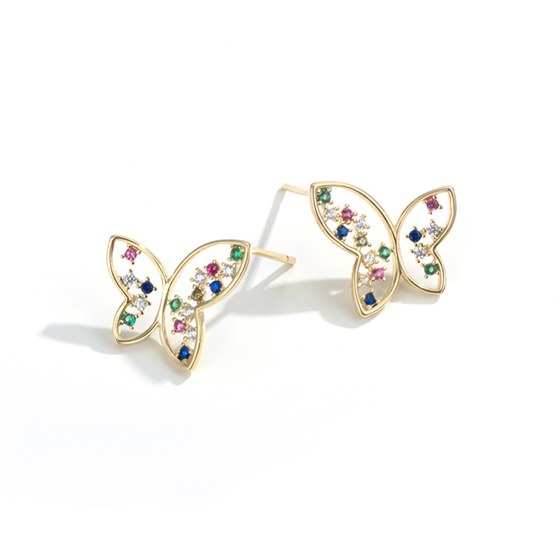 2019 New Colorful Cubic Zircon Butterfly Earrings For Women Girls Fashion Gold Silver Color Insect Stud Earrings Party Jewelry