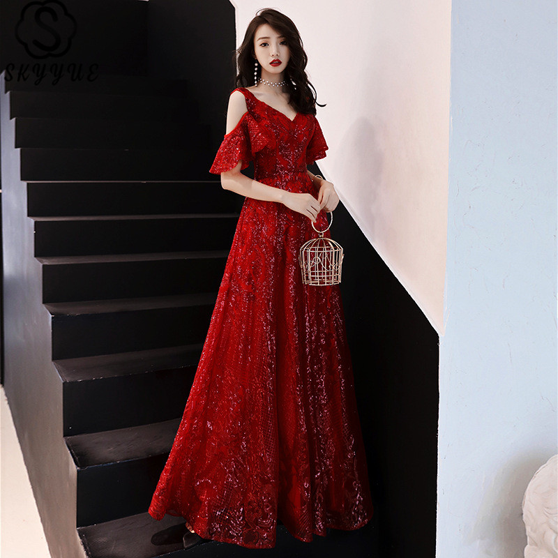 Skyyue Evening Dresses Elegant Floor-Length Lace Up Women Party Dress Plus Size Zipper Sequined Formal Prom Gowns E395