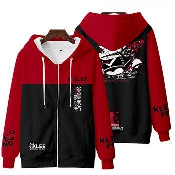 VEVEFHUANG Kосплей Game Genshin Impact Cosplay Costume Hooded Sweatshirt Anime Sports Jacket Velvet Top Klee геншин импакт 2