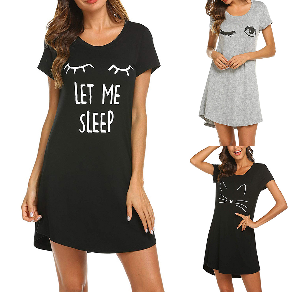 Womens Sleepwear Cute Sleep Shirt Printed Night Dress Short Sleeve Nightwear Casual Printing(China)
