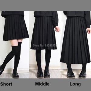Elastic Waist Japanese Student Girls School Uniform Solid Color JK Suit Pleated Skirt Short/Middle/Long High School Dress
