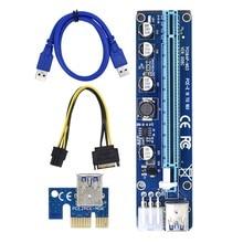 6 pin PCI Express PCIE PCI-E yükseltici kart 008C 1X to 16X genişletici 60cm USB 3.0 kablo madencilik Bitcoin madenciler