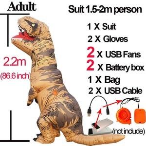 Image 4 - Disfraz de dinosaurio T REX Velociraptor para adultos y niños, Cosplay de Anime de fantasía, Raptor de dinosaurio inflable, Disfraces de Halloween para mujeres