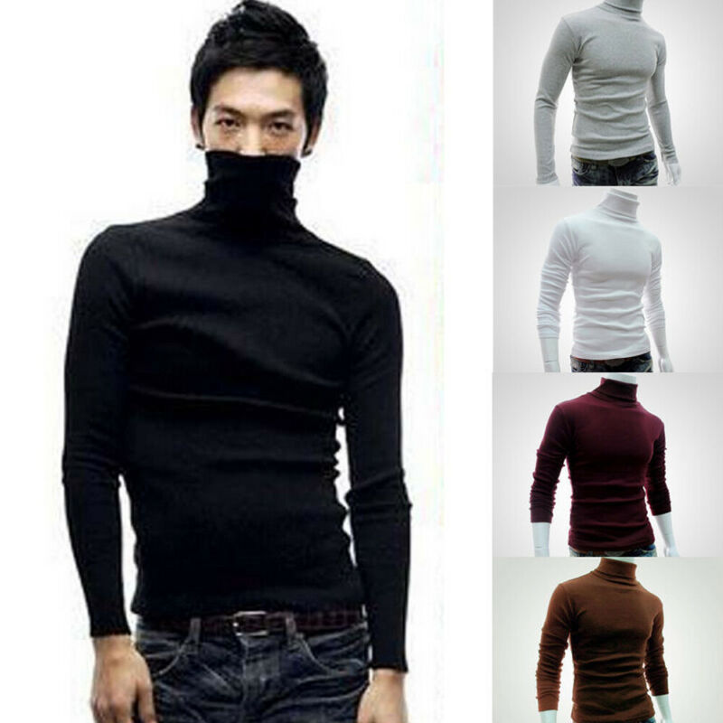 Winter Men Bottoming Sweater Knitted Roll Turtlenck Pullover Jumper Knitwear Cotton leotards Sweater undergarments