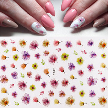 цена на 3D Flower Design Nails Art Stickers Water Transfer Decals Wraps DIY Adhesive Tips Salon Nail Art Decorations Manicure Sliders