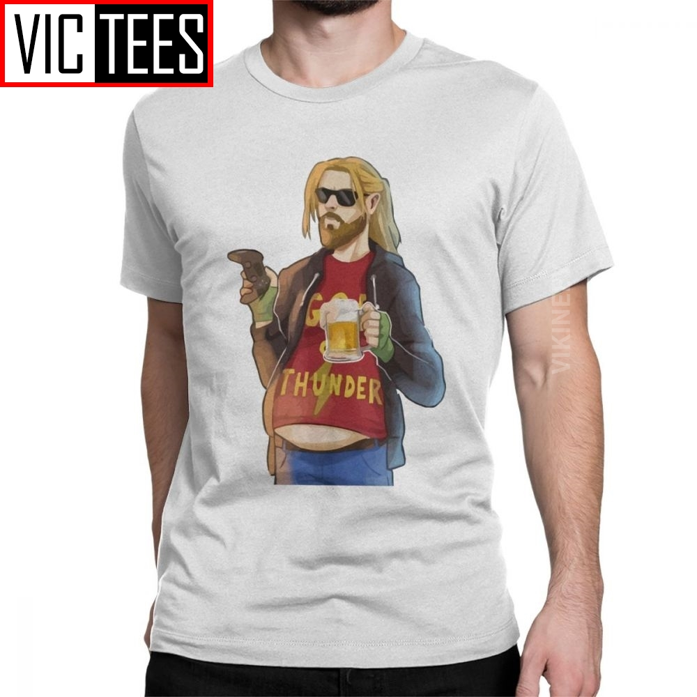 God Of Thunder Fat Thor Like Beer And Game Tshirt Men 100 Percent Cotton T Shirt Chubby Beer Marvel Oversized
