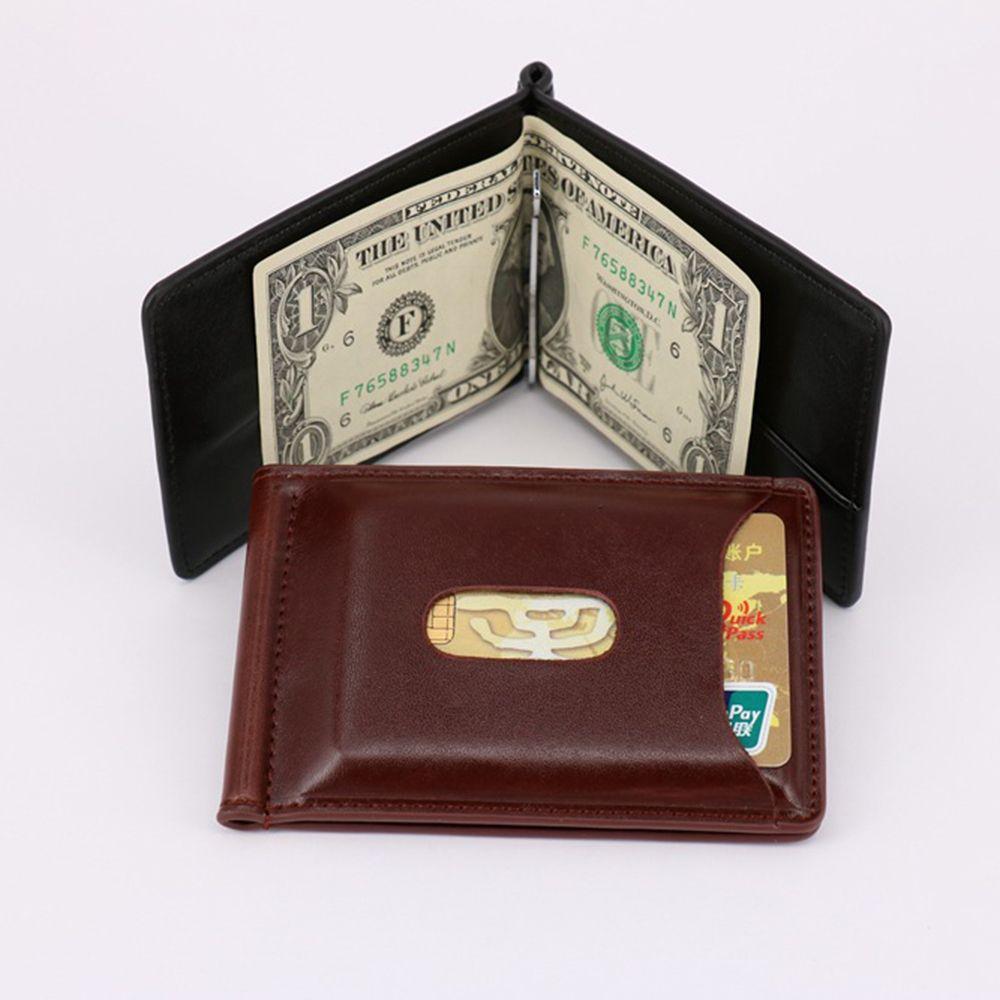 Высококачественный 1 шт., модный мужской однотонный тонкий кошелек с магнитной застежкой, кожаный кошелек с двойной застежкой, кошелек для ...