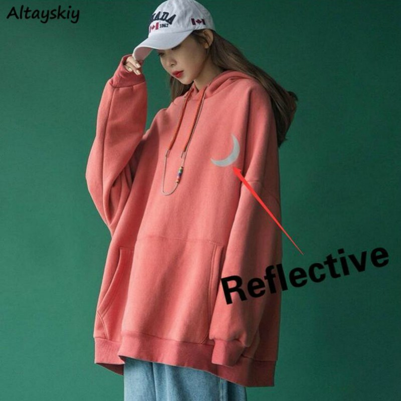 Hoodies Women Plus Size Velvet Thickening Winter Reflective Printed Streetwear Ins Chic Couples BF Sweatshirt Casual Hooded HOT