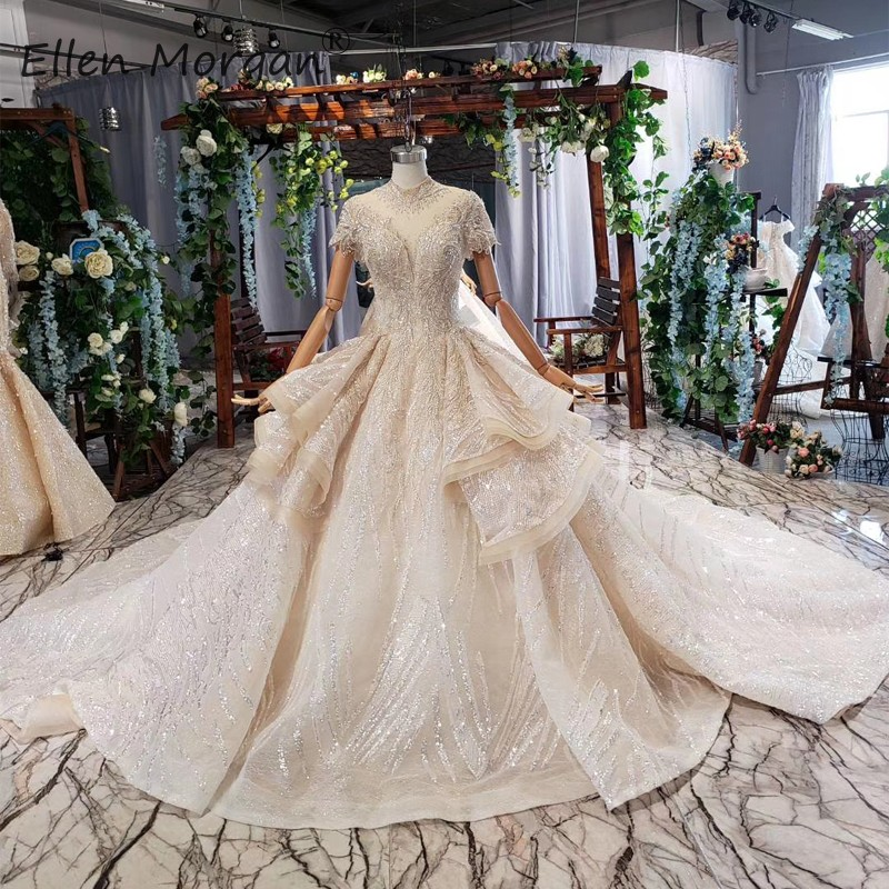 Vintage High Neck Lace Wedding Dresses For Women Luxury 2019 Glitter Ball Gowns Beads Cap Sleeve Ruffles Vestidos De Novia