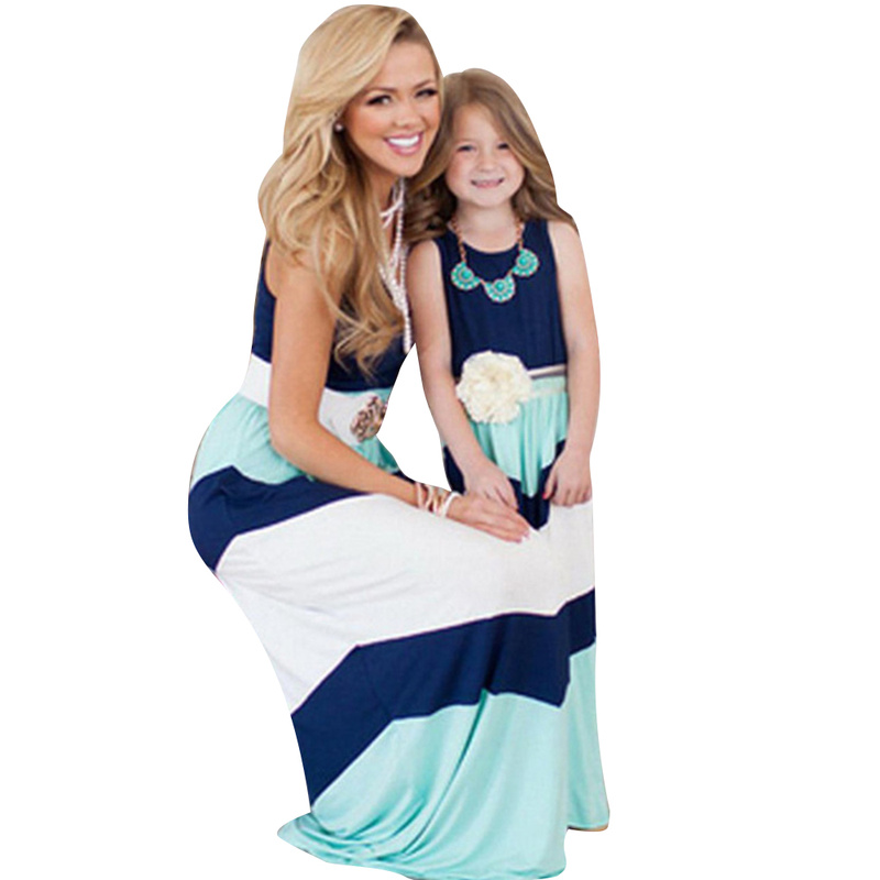 Family Look Mommy And Daughter Matching Clothes Striped Dress Sleeveless Tank Dress Family Clothing Mommy And Me Dresses Casual