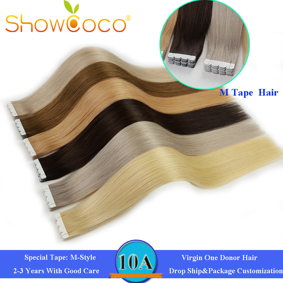 Showcoco Mini White M Style Tape In Virgin Human Hair Extensions One Donor Cuticle Aligned Intact Skin Weft Tape Ins For Salon