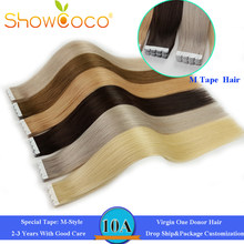 Showcoco Mini White M Style Tape in Virgin Human Hair Extensions One Donor Cuticle Aligned Intact Skin Weft Tape ins for Salon(China)