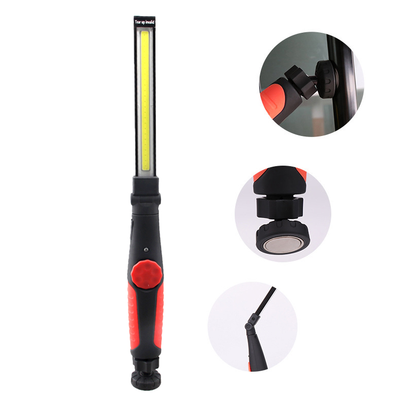 Taşınabilir garaj çalışma ışığı çok fonksiyonlu şarj edilebilir COB LED İnce çalışma işık lambası el feneri çalışma ışığı açık