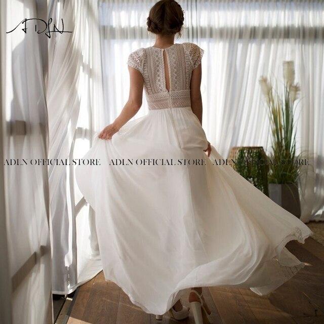 Exquisite Jewel Bohemian Wedding Dress Cap Sleeves Boho Lace Bride Dress Chiffon Beach Bridal Gown Customized 2
