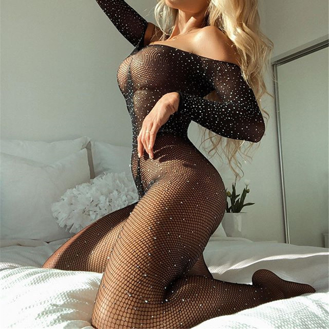 OMSJ Rhinestones Shining Fishnet Mesh Sheer Rompers Sexy Off-shoulder Long Sleeve Bodycon Jumpsuit Lady Night Club Outfits Black 1