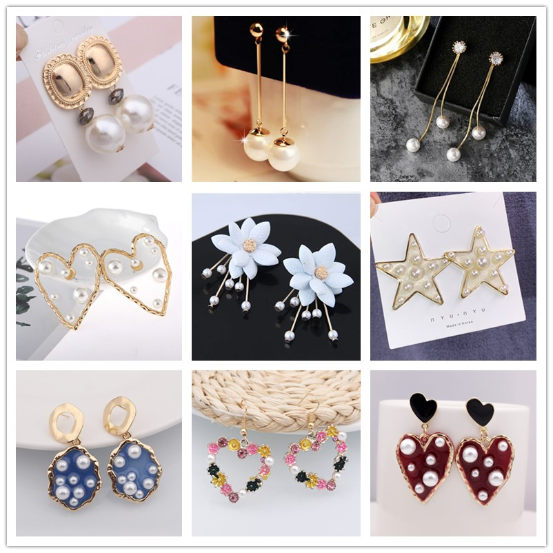 Simulated Pearl Big Drop Earrings For Women Wedding Party Statement Geometric Heart Flower Star Earrings Korean Jewelry Gift