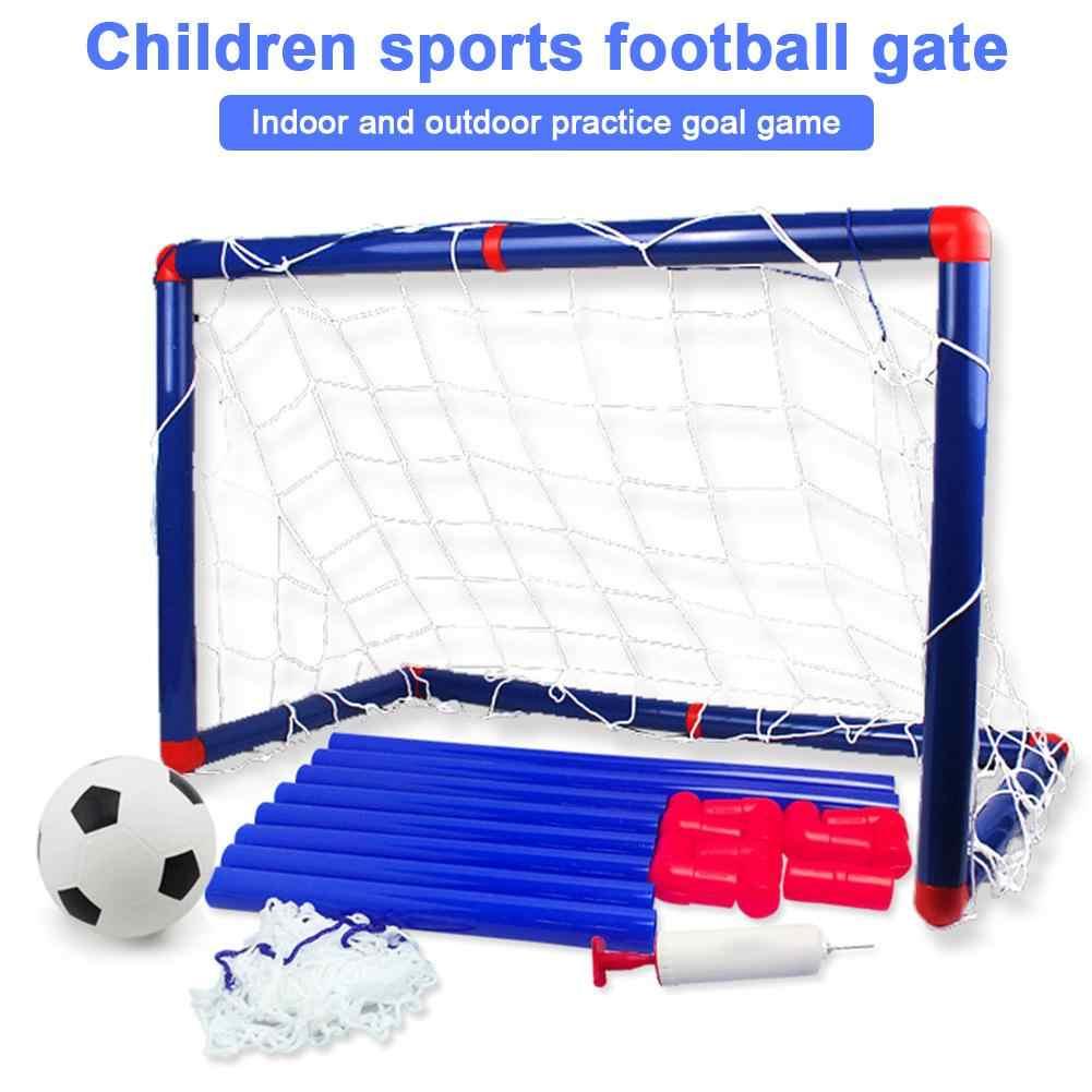 Folding Mini Football Soccer Goal Post Net Set with Pump Kids Sport Toy WN PN