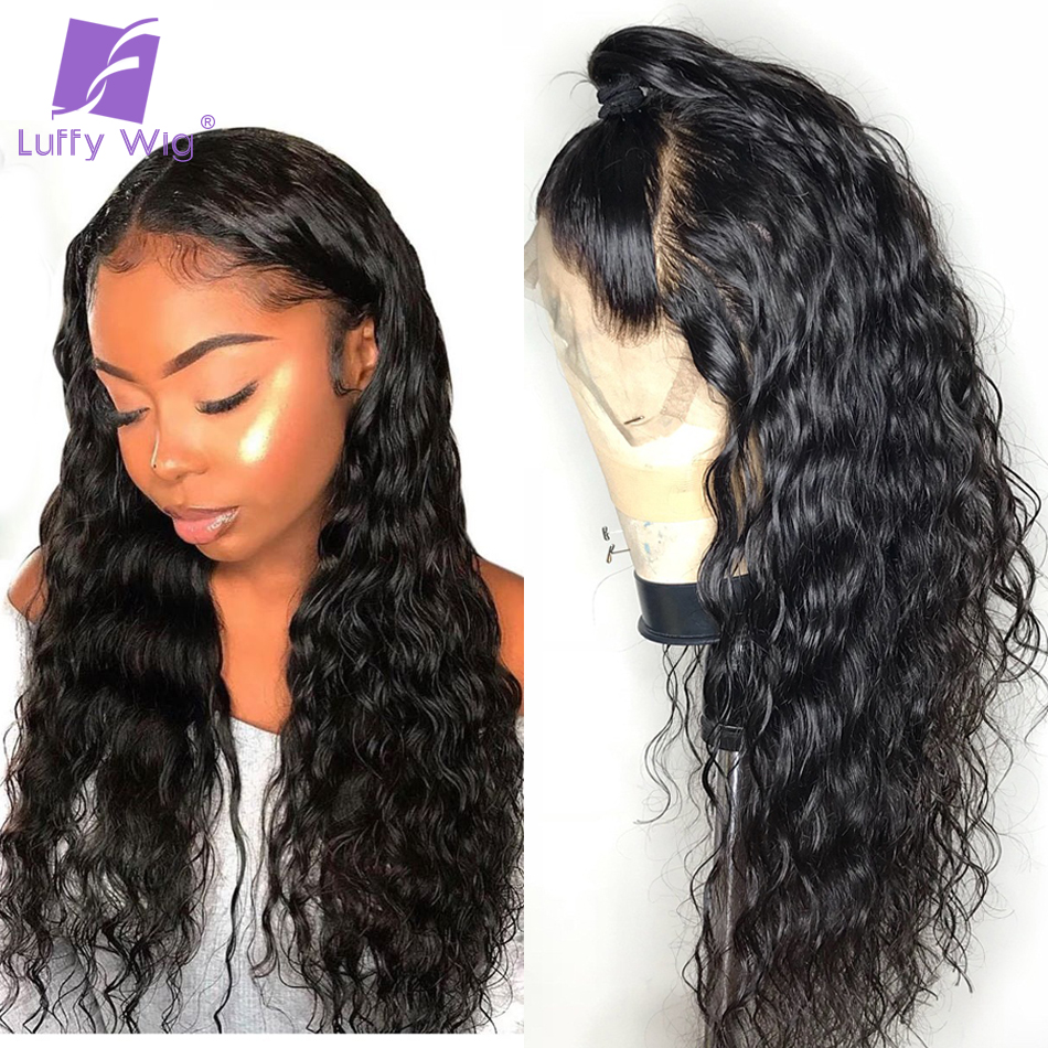 Water Wave Fake Scalp Wig Glueless 13x6 Deep Part Lace Front Human Hair Wigs Pre Plucked 150 Remy Brazilian Bleached Knots LUFFY