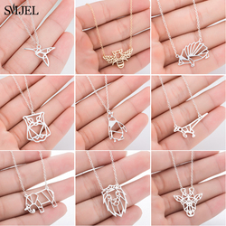 SMJEL Simple Animal Necklaces Stainless Steel Lion Owl Hedgehog Pendant Necklaces for Women Children Jewelry accessories naszyjn