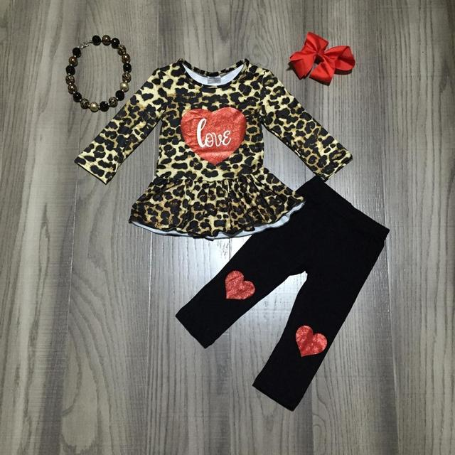 Valentines day spring/winter outfit children cotton clothes heart shaped black leopard ruffles patch pants match accessories