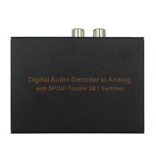 Digital o Decoder to Analog 3 Port Optical SPDIF Toslink to L/R RCA 3.5mm Stereo 3X1 Switcher Adaptor