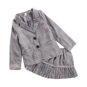 Image 4 - Elegancki 2 sztuk zestaw ubrań dla dużych dziewczynek jesień wiosna mundurek szkolny nastolatek Blazer garnitur kobiet dziecko uczeń kostium 8 10 12 lat
