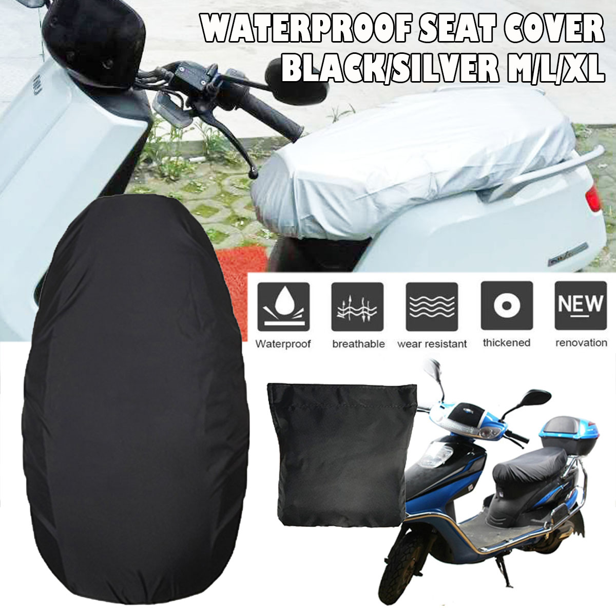 Universal Motorcycle Scooter Seat Cover Waterproof M/L/XL Snow Cover Sunshade Anti Dust UV Rain Cushion Mat Oxford Cloth